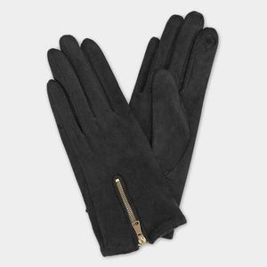 Gray Faux Suede Gold Zippered Gloves Accessory